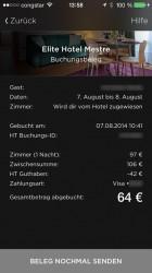 Hotel Tonight App Buchungsbeleg