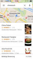 Google Maps liefern auch kontextbezogene Suchergebnisse verlässlich