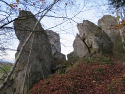 Der Römerstein wird von einem kleinen Wald umgeben