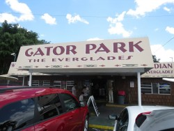 Das Schild des Gator Parks in den Everglades in Flordia