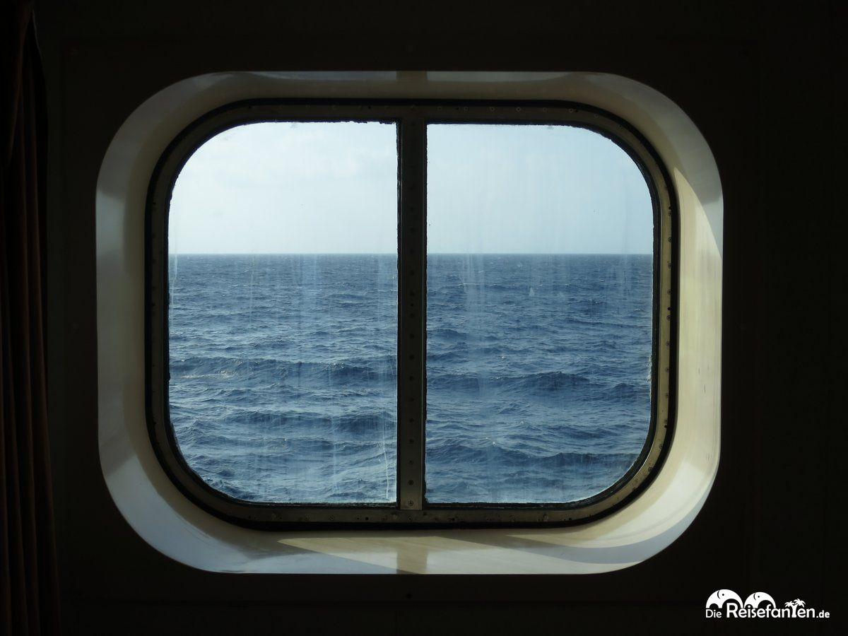 Aussicht aus unserer Außenkabine an Bord der Carnival Glory