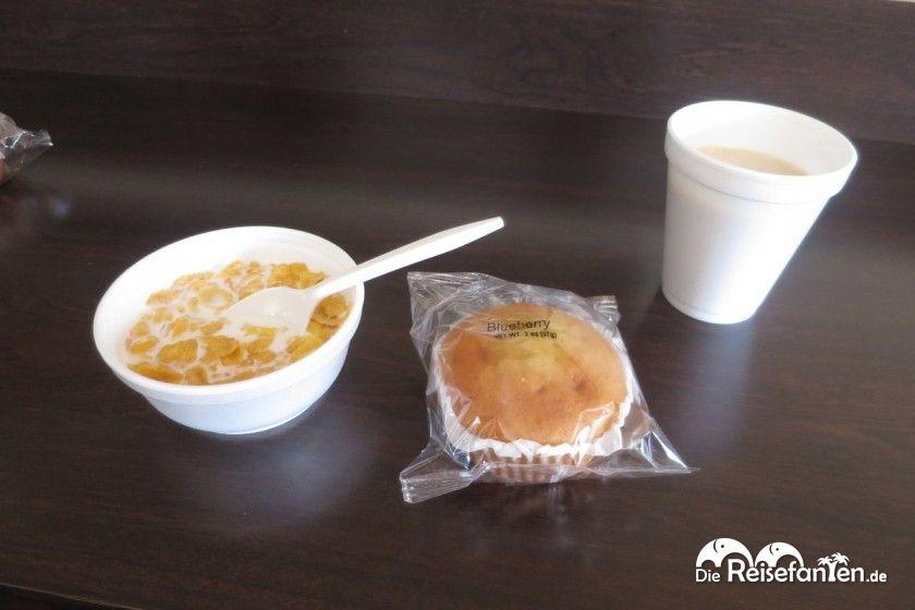 Ein etwas spärliches Frühstück im Red Roof Plus+ Miami Airport Hotel