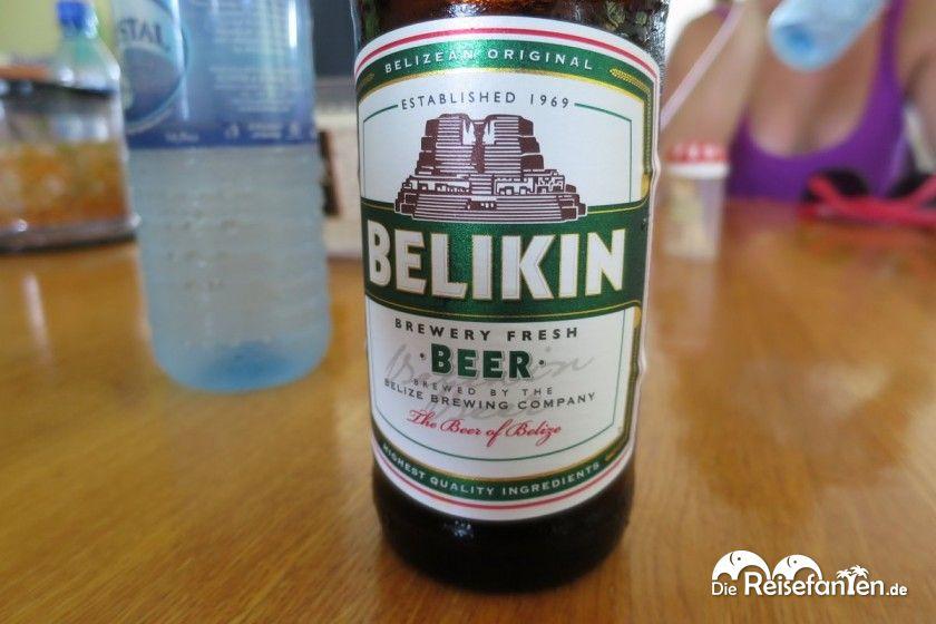 Das Belikin Bier trägt die Kultur der Maya in seinem Logo