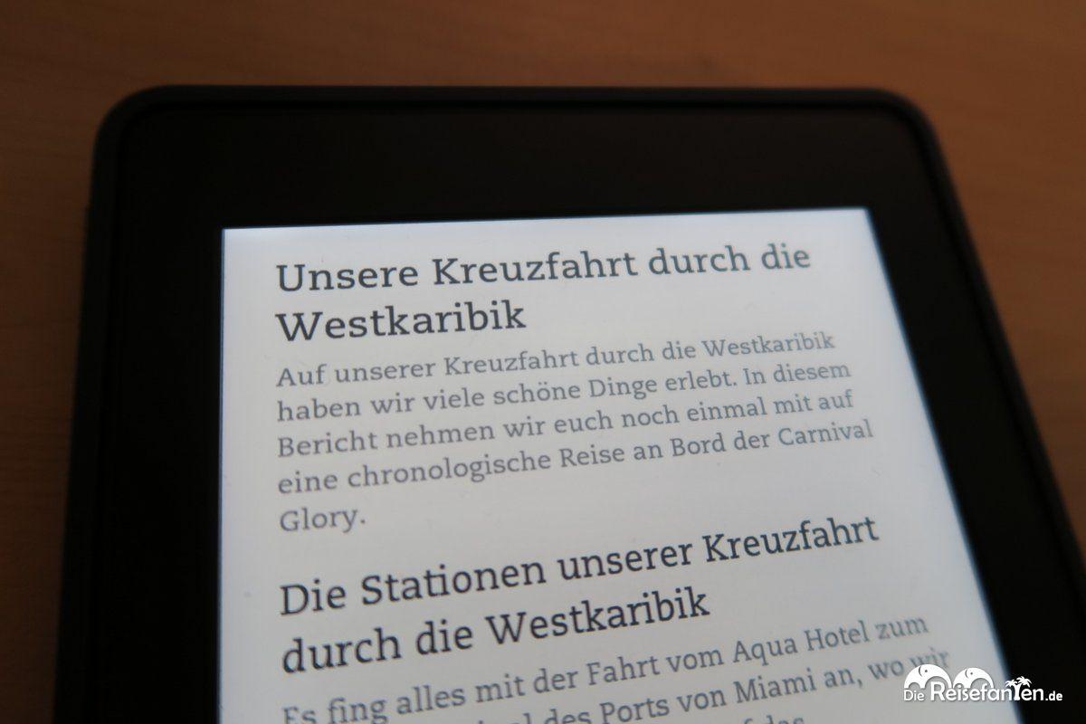 Das eBook der Reisefanten zur Kreuzfahrt durch die Westkaribik auf dem Kindle Paperwhite