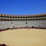 Blick von der Tribüne der Stierkampfarena Las Ventas in Madrid