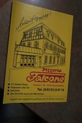 Die Speisekarte der Pizzeria Falcone