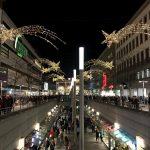 Blick zum Hannover Hauptbahnhof während des Weihnachtsmarkts