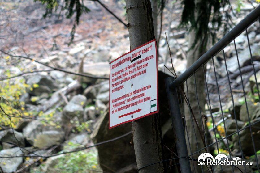 Gefahrenschild im Bodetal im Harz