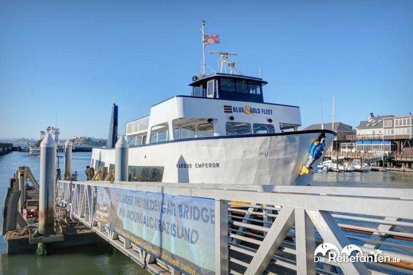 Mit der Blue & Gold Fleet in San Francisco auf einer Bootsfahrt zur Golden Gate Bridge und Alcatraz