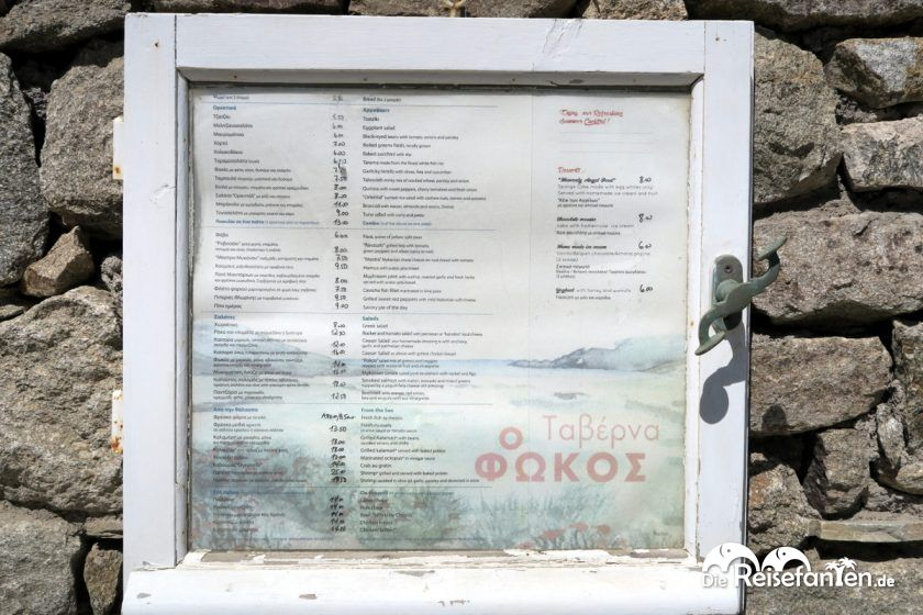Die Speisekarte der Taverna Fokos
