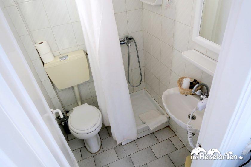 Das Badezimmer im Magas Hotel auf Mykonos