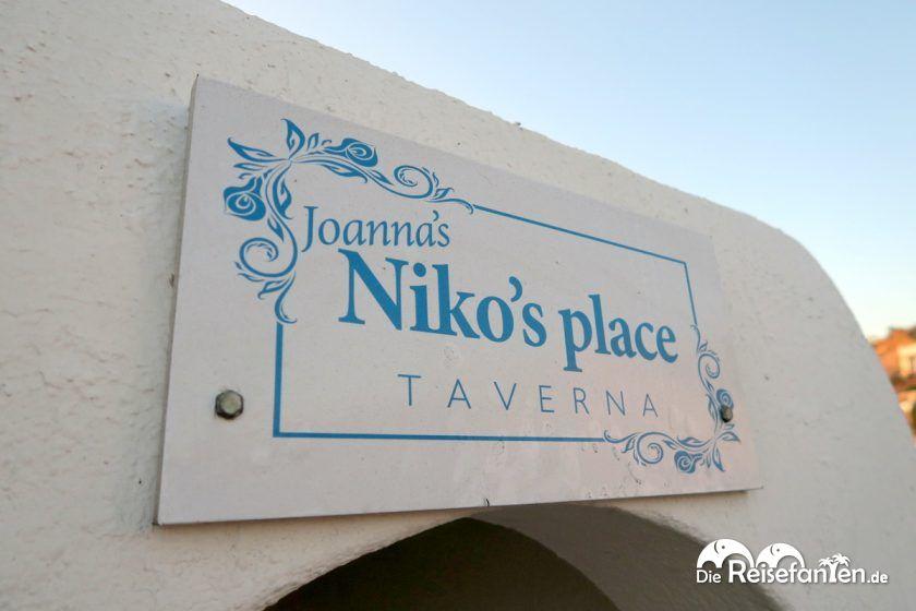 Das Eingangsschild der Joanna's Niko's Place Taverna