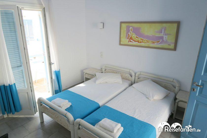 Das Schlafzimmer im Magas Hotel auf Mykonos
