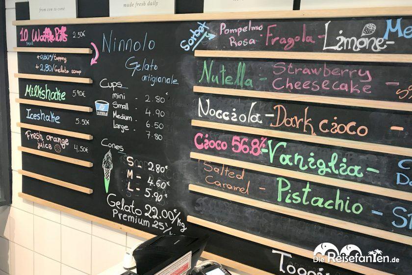 Die Speisekarte Ninnolo Eis in Mykonos Stadt