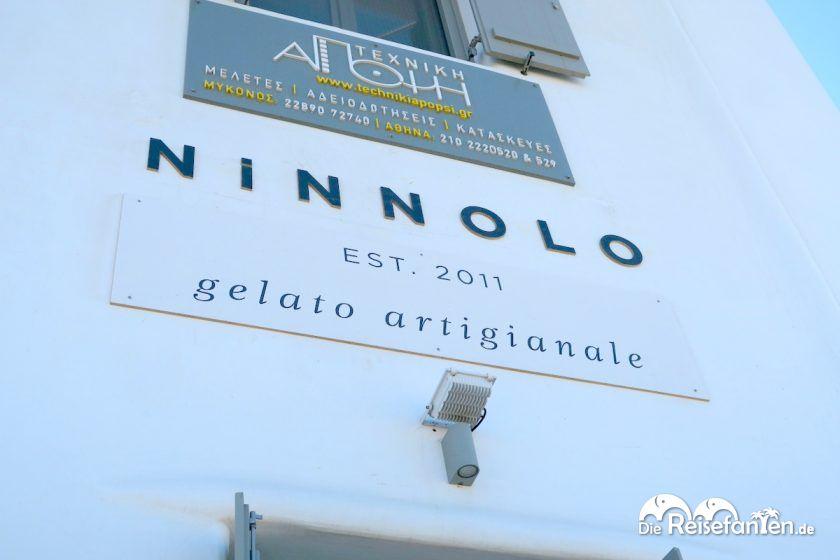 Hausschild von Ninnolo Eis auf Mykonos