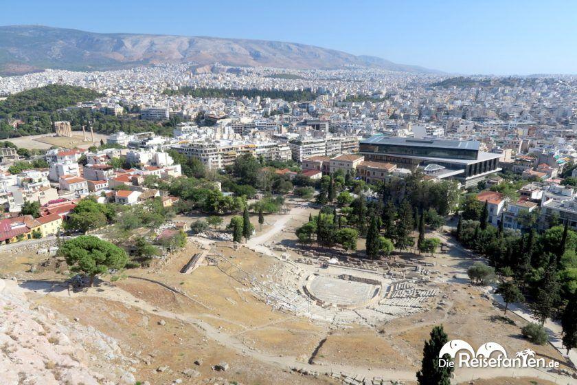 Ausblick von der Akropolis in Athen