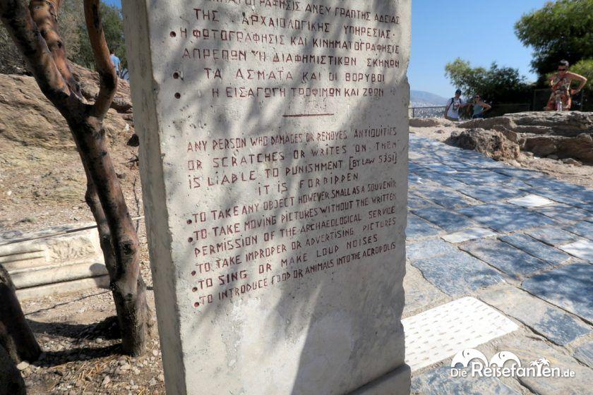 Verhaltensregeln für die Akropolis in Athen