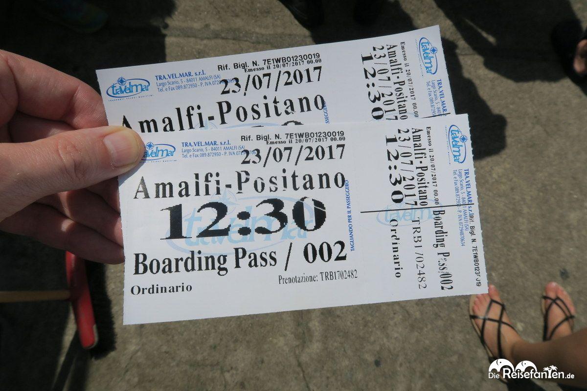 Die Bootstickets für die Fahrt nach Positano