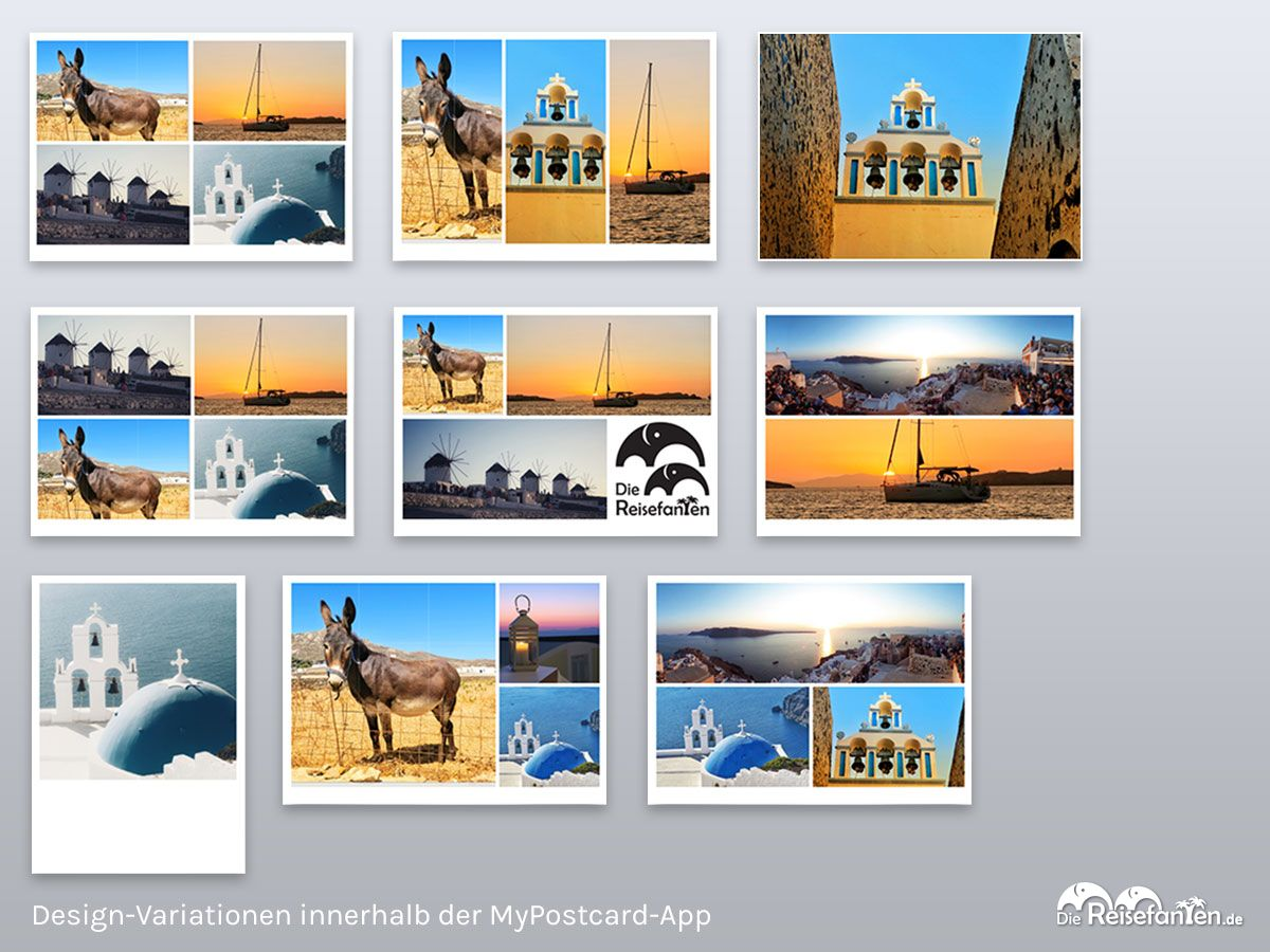 Design Variationen innerhalb der MyPostcard App