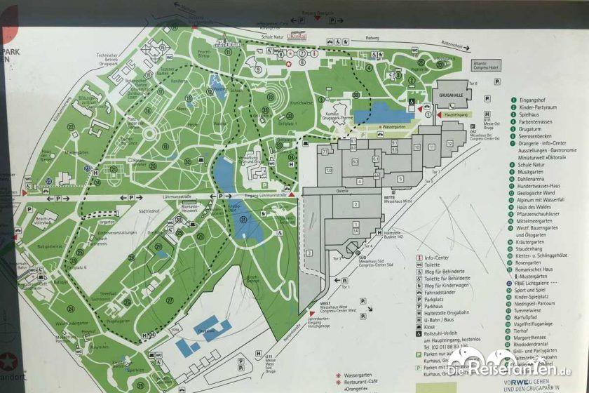 Übersichtskarte des Grugaparks in Essen