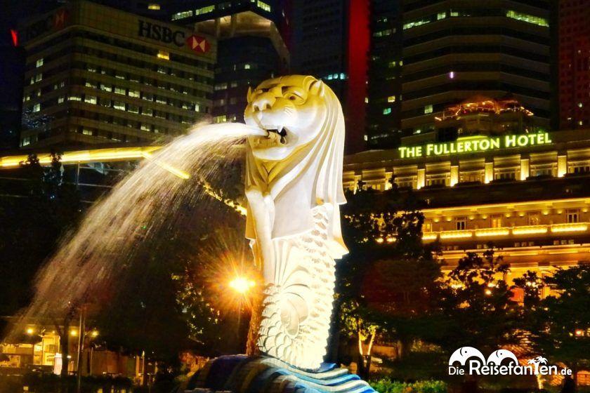 Der Merlion in Singapur bei Nacht.jpeg