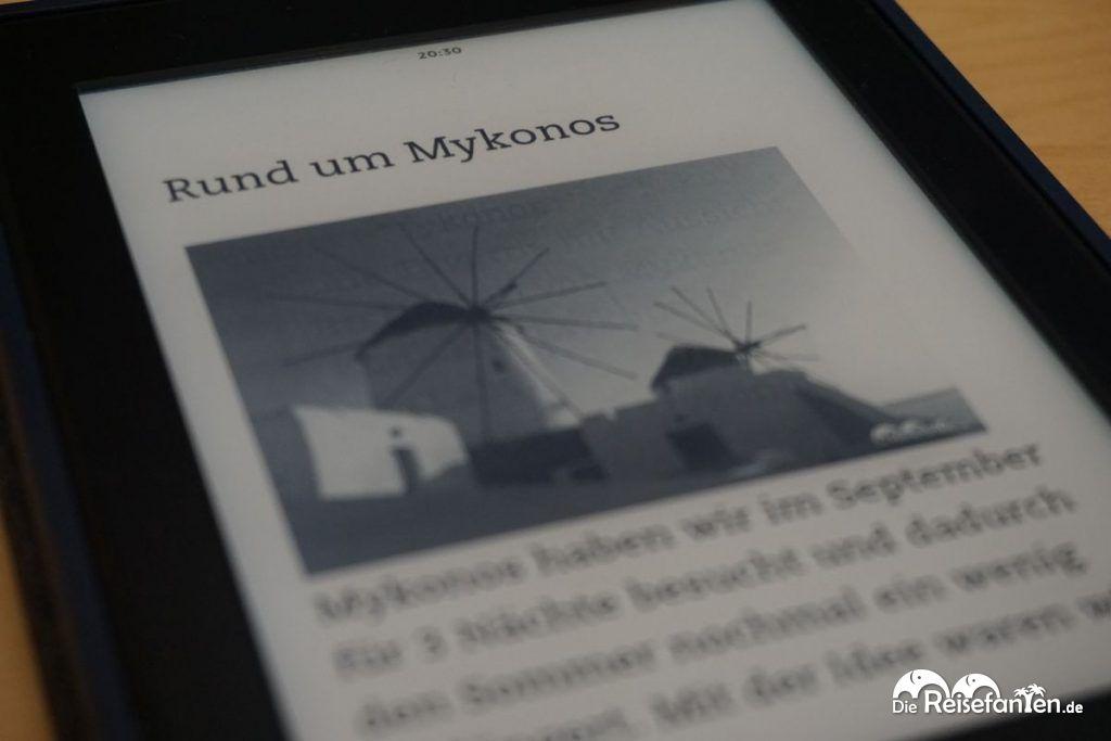 Eine Inhaltsseite im sechsten Reisefanten eBooks, diesmal zum Thema Griechenland