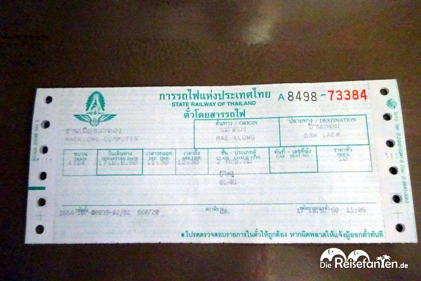 Fahrkarte für den Zug vom Mae Klong Markt
