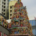 Tempelaussenansicht in Little India in Singapur