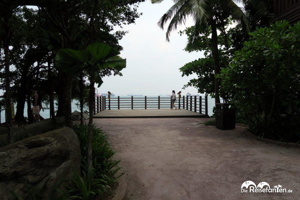 Ausblick von Sentosa Island vor Singapur