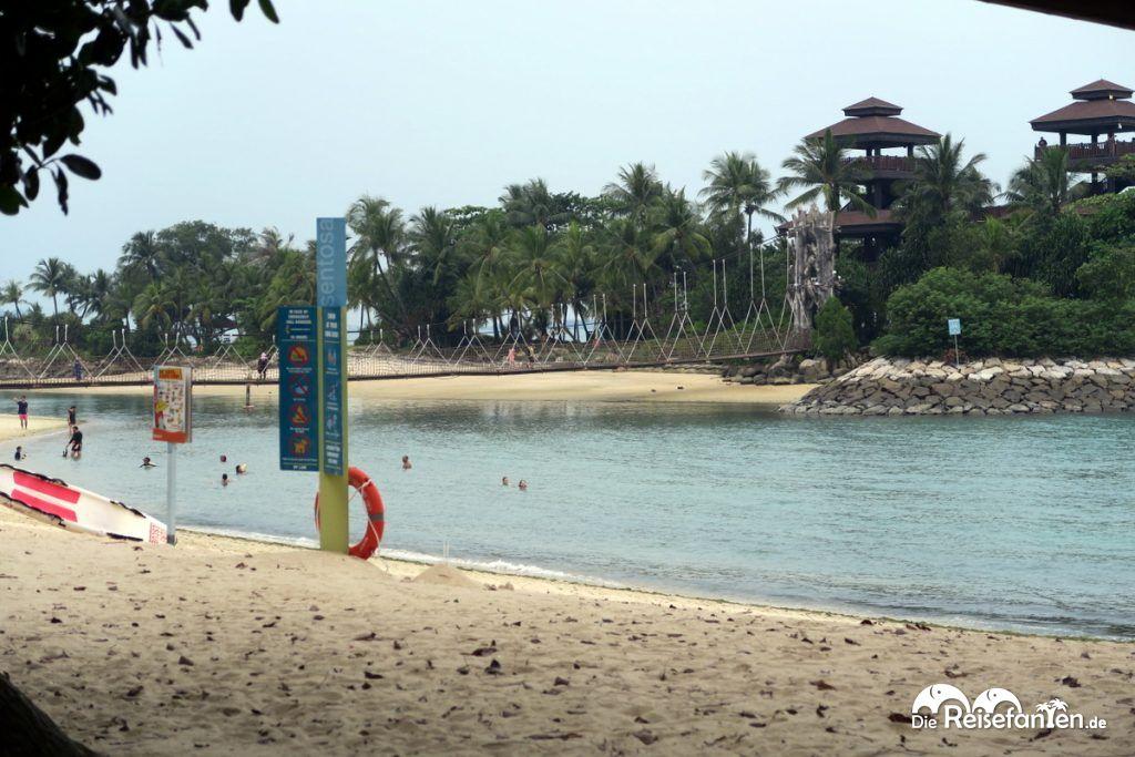 Blick auf den südlichsten Punkt Kontinentalasiens auf Sentosa Island vor Singapur