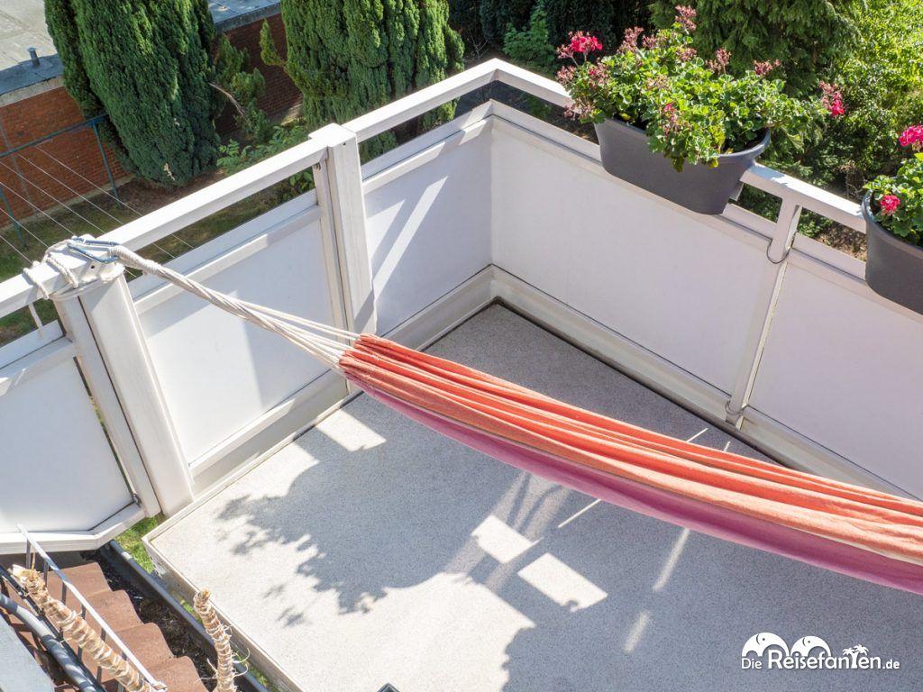 Die fertig installierte Tropilex Hängematte auf unserer Dachterrasse