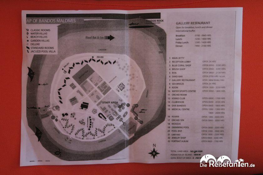 Übersichtsplan vom Bandos Resort auf den Malediven