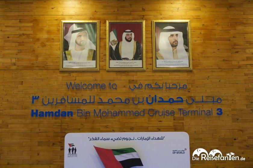 Begrüßung am Kreuzfahrtterminal in Dubai