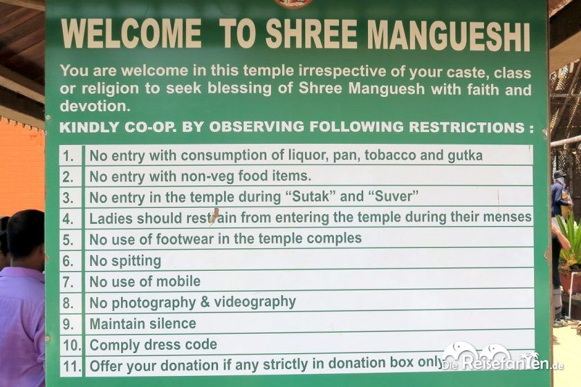 Regeln für den Tempelbesuch in Indien