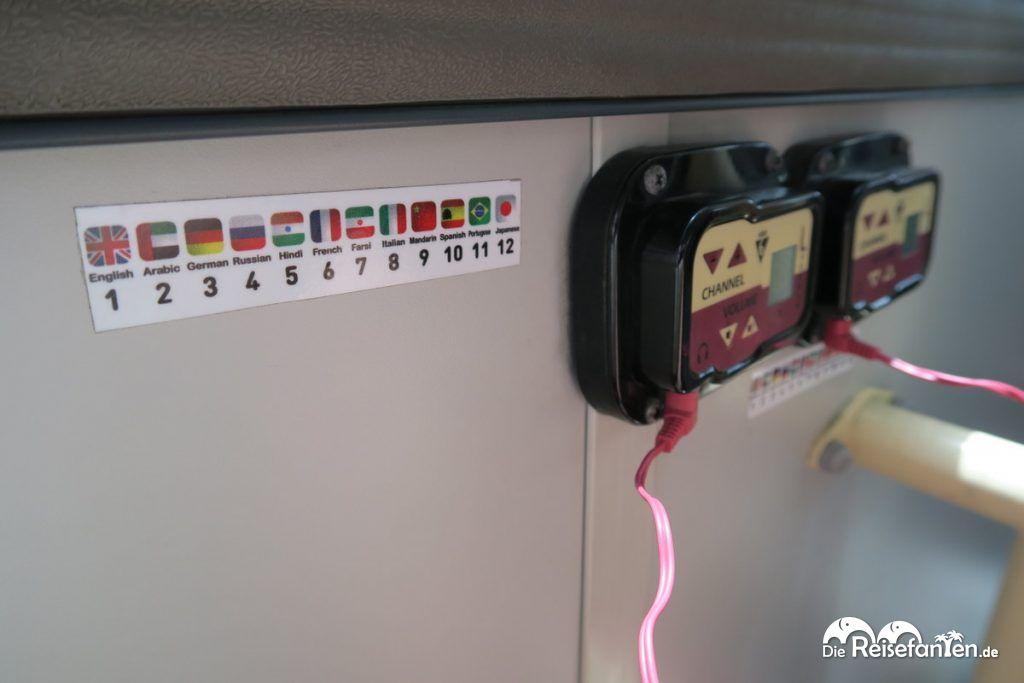 Viele Sprachen zur Auswahl im BigBus Dubai