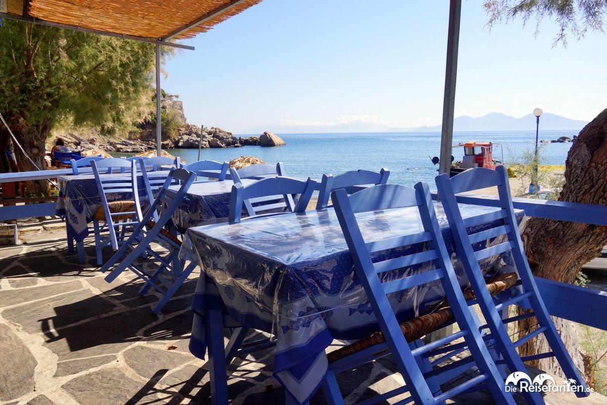 Aussicht im Kafeneio in Therma auf Ikaria
