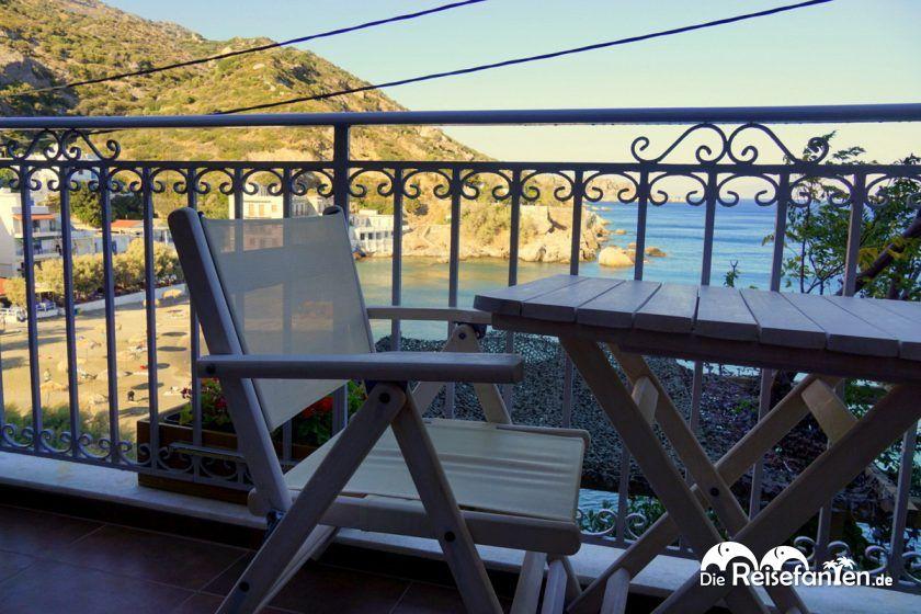Balkon mit Meerblick im Marina Hotel in Therma auf Ikaria