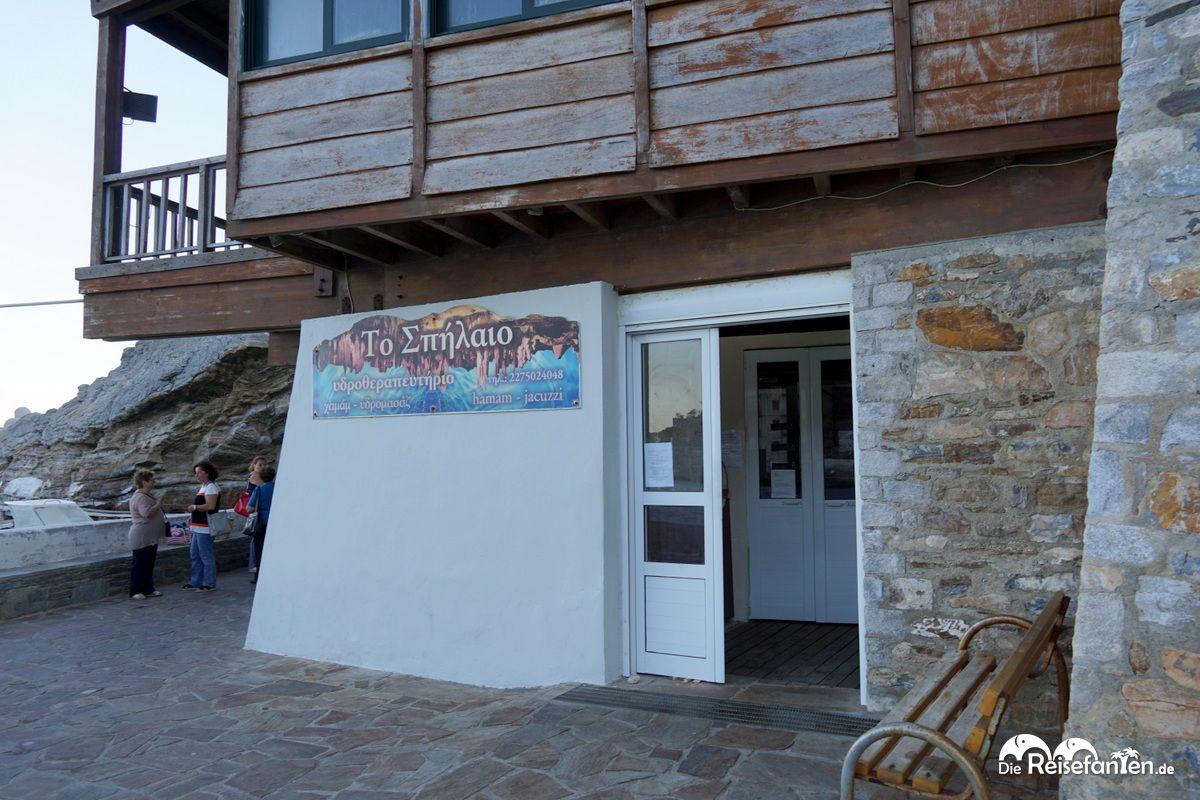 Eingang zu den Thermalquellen in Therma auf Ikaria