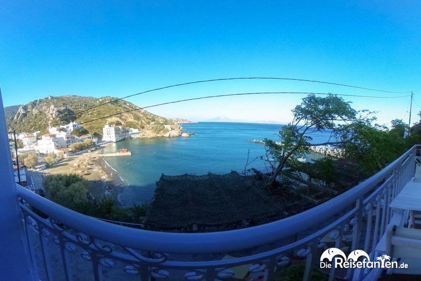 Interaktive Aussicht vom Marina Hotel in Therma auf Ikaria