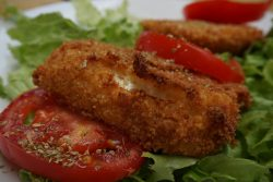 Gebackener Mozzarella im Restaurant Frateli La Bufala in Triest