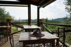 Frühstück mit Aussicht in der Fattoria Voltrona San Gimignano