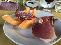 Melone mit Schinken in der Fattoria Voltrona San Gimignano