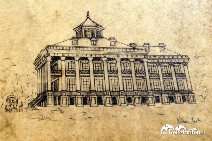 Eine der wenigen Zeichnung des Windsor Anwesens