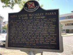 Infotafel zu Rosa Parks in Montgomery