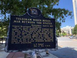 Infotafel zum Kriegsbeginn zwischen den Staaten in Montgomery