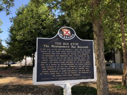 Infotafel zum Rosa Parks Bus Boykott in Montgomery
