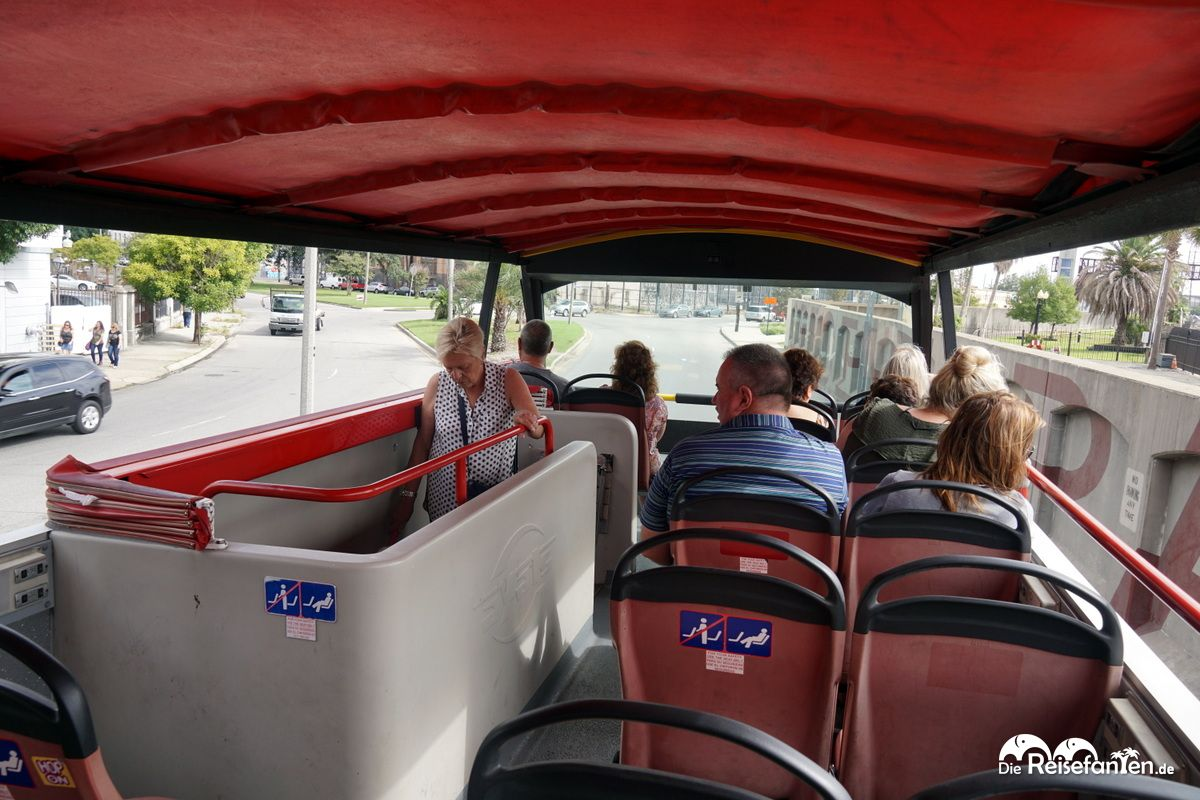 Auf dem Oberdeck des City Sightseeing New Orleans Busses