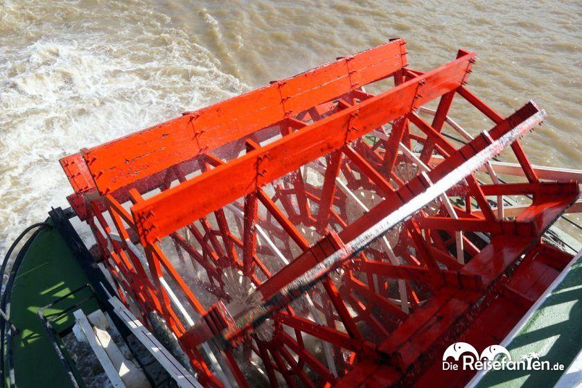 Das Schaufelrad des Steamboat Natchez in New Orleans