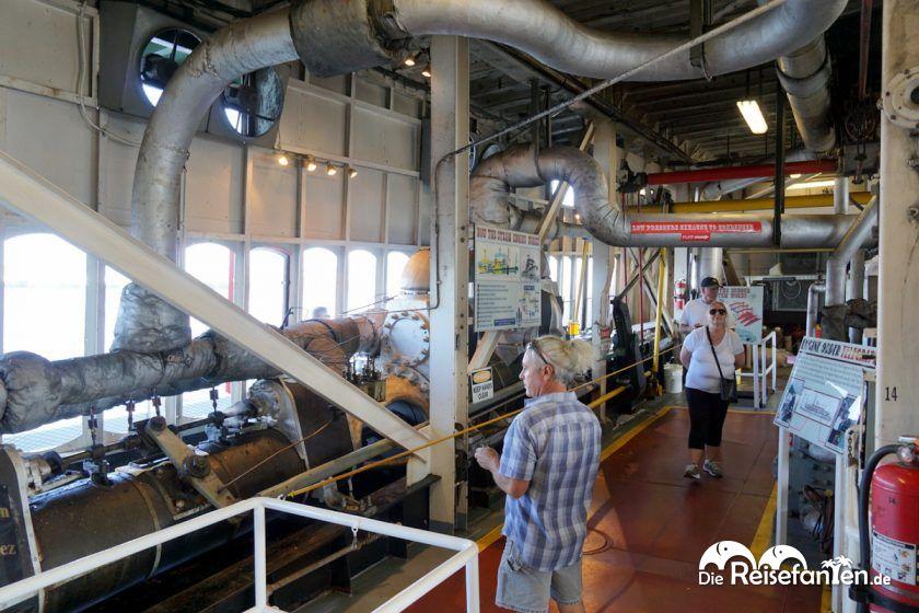 Der Maschinenraum des Steamboat Natchez in New Orleans