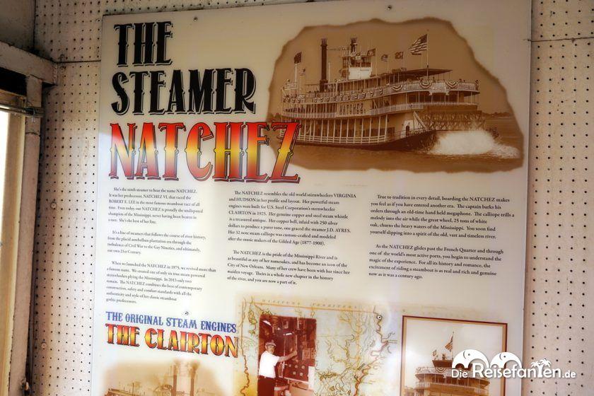 Geschichte des Steamboat Natchez in New Orleans auf einer Tafel